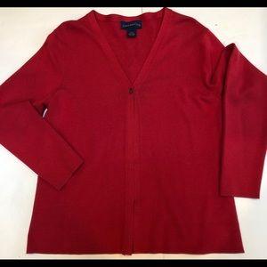 Charter Club  silk cardigan  one button closure